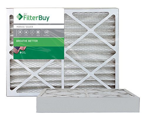 AFB MERV 8 Pleated AC Furnace Air Filter, Silver (2-Pack), (20x22x4) Inches