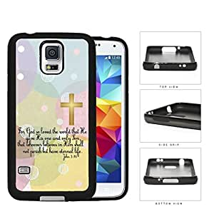 John 3:16 Bible Verse with Gold Cross and Pastel Colors Polka Dots & Circles Background [Samsung Galaxy S5 SM-G900] Rubber Silicone TPU Cell Phone Case
