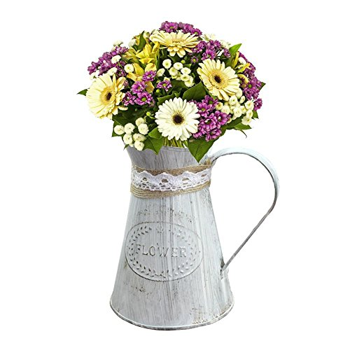 Sanmubo Retro Old-Fashioned Metal Flower Bucket Tin Flower Bucket Flower Shop Ornament Handmade Hemp Rope Iron Flowerpot French Bucket Farmhouse Style (Flower Shop Tin)