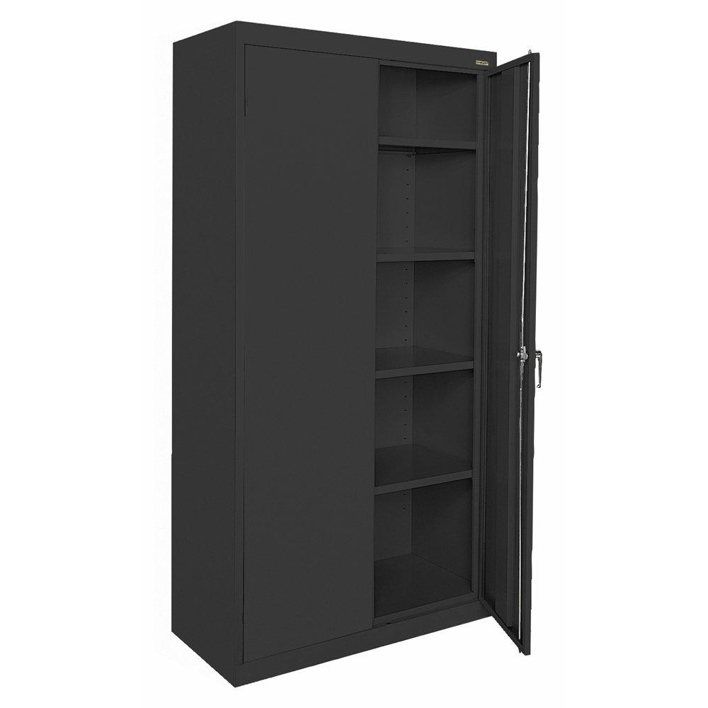 Sandusky Lee CA41361872-09, Welded Steel Classic Storage Cabinet, 4 Adjustable Shelves, Locking Swing-Out Doors, 72'' Height x 36'' Width x 18'' Depth, Black