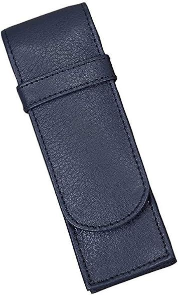 Alassio 2669 - Estuche para bolígrafos (Piel, Funda Azul) 14 x 4,5 x 2 cm, Estuche de Piel para 2 lápices.: Amazon.es: Equipaje
