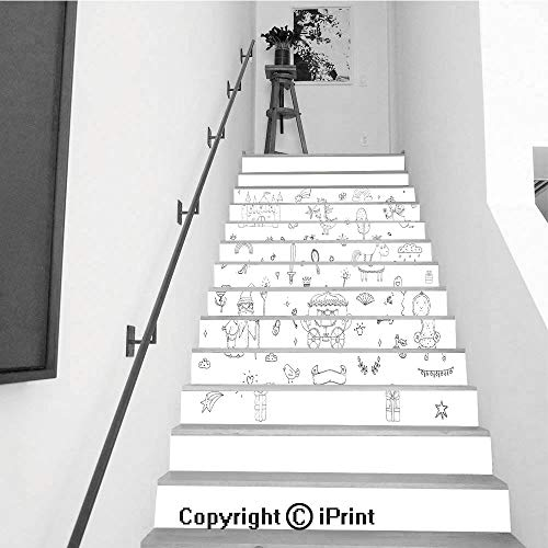 (13Pcs Stair Sticker Decals 3D Creative Building Stair Risers Tiles Wallpaper Mural Self-adhesive,Cute cartoon princess collection Doodle fairytale set for kids Hand drawn vector illustration isolate)