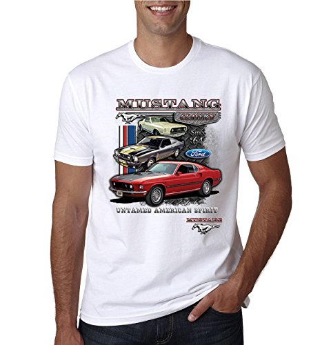 (Ford Mustang Classics Untamed American Spirit | Mens Planes/Trains/Automobiles Tee Graphic T-Shirt, White, 2XL)
