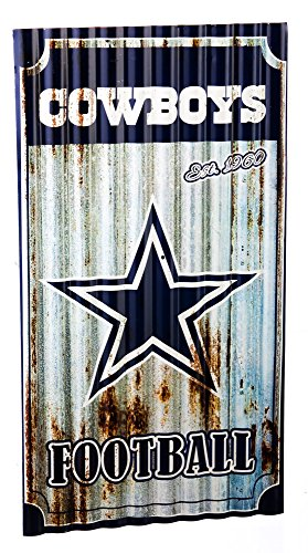 Team Sports America NFL Dallas Cowboys Corrugated Metal Wall Art, Small, Multicolored -