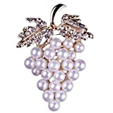 Fablcrew Grape Shape with Man-Made Pearl Pin Brooch Brooch Pin for Silk Scarf Size 3.8×5.4cm