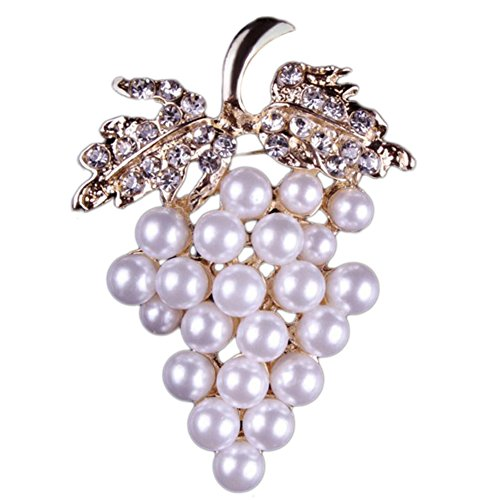 (Fablcrew Grape Shape with Man-Made Pearl Pin Brooch Brooch Pin for Silk Scarf Size 3.8×5.4cm)