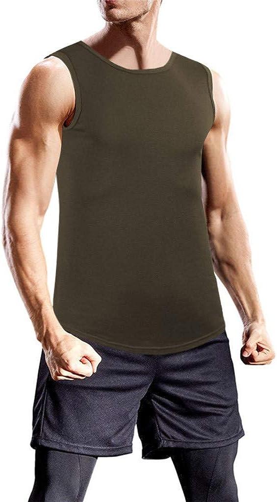 JiaMeng-ZI Camisetas De Tirantes Deportivo Gimnasio Fitness Running Tops Camisetas T-Shirts Tejido Ligero de Secado rápido Color SóLido Camisetas Sin Manga Suave Cómodo Vest