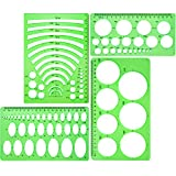 BOAO 4 Pieces Clear Green Template Plastic Rulers Circle Oval Circle Radius Drawing Templates for Office and School Supplies