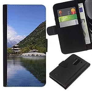 Ihec-Tech / Flip PU Cuero Cover Case para LG Optimus G3 - Nature Asian Temple