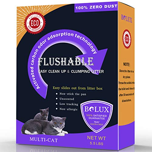 Bolux Flushable Cat Litter, Low Tracking Clumping Cat Litter, Non-Allergic Unscented and Zero Dust Natural Formula