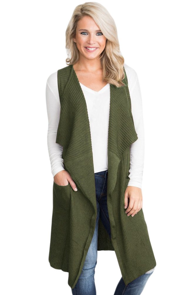 AMLLY Women Pocket Long Maxi Open Sleeveless Top Jacket Collar Plain Cardigan Vest