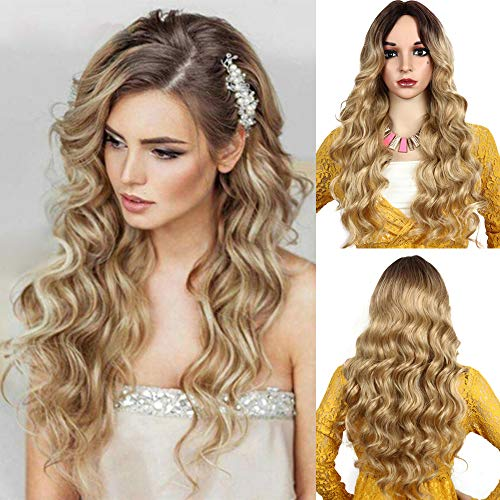 Blonde Wigs for Women Long Wavy Curly Hair Wig Ombre Synthetic Wigs Sexy Female Wig -
