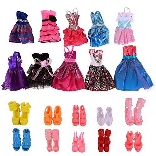 Fengirl 10 Pack Barbie Doll Clothes Wedding Party Gown Dresses Outfits with 10 Pairs Doll Shoes for Girl's Birthday Christmas Gift