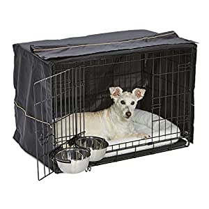 iCrate Dog Crate Starter Kit | 30-Inch Dog Crate Kit Ideal for MEDIUM DOG BREEDS Weighing 26 – 40 Pounds | Includes Dog Crate, Pet Bed, 2 Dog Bowls & Dog Crate Cover | 1-YEAR MIDWEST QUALITY GUARANTEE