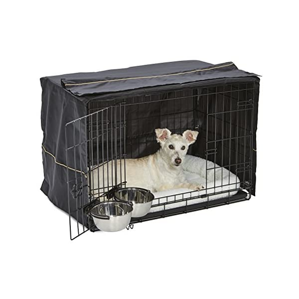 iCrate Dog Crate Starter Kit   30-Inch Dog Crate Kit Ideal for MEDIUM DOG BREEDS Weighing 26 – 40 Pounds   Includes Dog Crate, Pet Bed, 2 Dog Bowls & Dog Crate Cover   1-YEAR MIDWEST QUALITY GUARANTEE