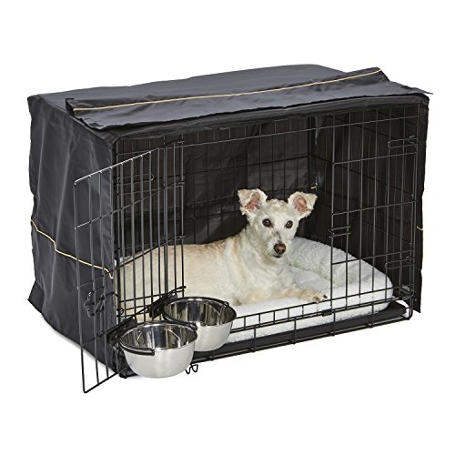 (iCrate Dog Crate Starter Kit | 30-Inch Dog Crate Kit Ideal for MEDIUM DOG BREEDS Weighing 26 - 40 Pounds | Includes Dog Crate, Pet Bed, 2 Dog Bowls & Dog Crate Cover | 1-YEAR MIDWEST QUALITY GUARANTEE)
