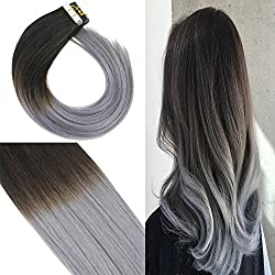 """Youngsee 16"""" Remy Straight Ombre Tape in Hair Extensions Natural Black to Blue Grey Seamless Hair Extensions Tape in Real Human Hair 40pcs 100g"""
