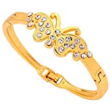 DVANIS Jewelry Pretty Design Butterfly Carve Crystal Gold Plated Bracelet Bangle
