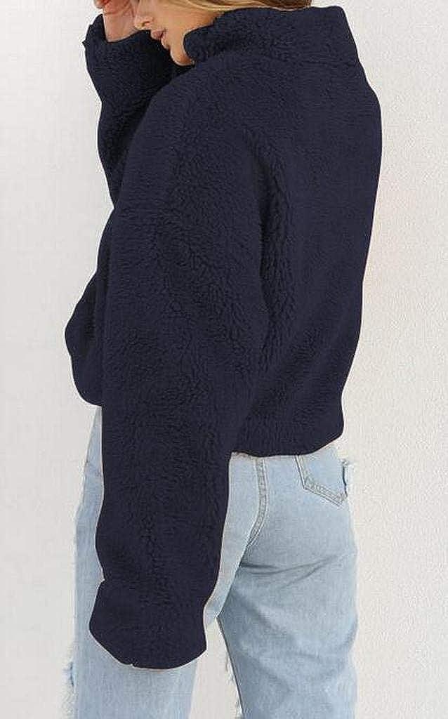 Fubotevic Women Long Sleeve Loose Faux Fur Fluffy Turtleneck Pullover Sweatshirt