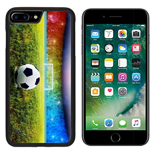 Luxlady Apple iPhone 8 Plus Case Aluminum Backplate Bumper Snap iphone8 Plus Cases Soccer Ball on Penalty Disk in The Stadium Image ID 7127177