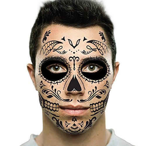 Black Web Sugar Skull Day of the Dead Temporary Face Tattoo Kit: Men or Women - 2 Kits]()