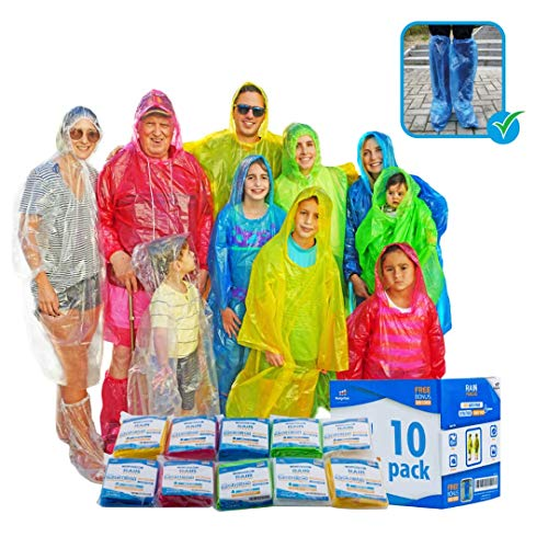 Emergency Family Rain Ponchos Extra Thick - 4 and 10 Pack Disposable Plastic Raincoat Bundled with Shoe Covers for Adults and Kids - Assorted Colors and 100% Waterproof Rain Gear -
