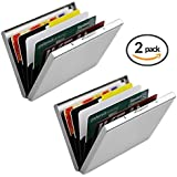 Ultra Thin Aluminum Metal Wallets - RFID Blocking Credit Card Wallet Holder for Men & Women - Best Card Protector with 6 PVC Slots and Durable Stainless Steel Latch (2 Pack)