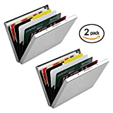 Metal Credit Card Wallet, URAQT Stainless Steel RFID Credit Card Holder, Metal Credit Card Case Protector Wallet for Women or Men with 6 PVC Slots (Silver, 2 Pack)