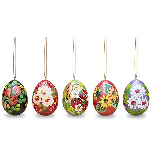 (Set of 5 Floral Wooden Pysanky Easter Egg Ornaments 2.5)