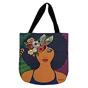 Shades of Color Woven Tote Bag, Believe, Blossom & Become, 17 x 17 inches (WTB113), Multicolored