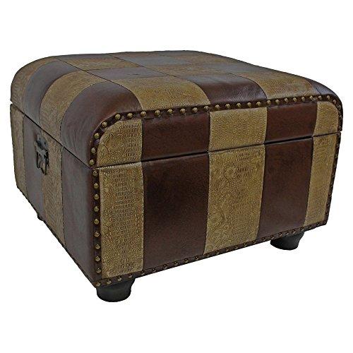 Burgundy Leather Ottoman - International Caravan YWLF-2187-MX-IC Furniture Piece Faux Leather Ottoman Trunk w/Lid