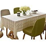 YUWJ Tablecloth, White Sun Flower Coffee Table Tablecloth Lace Table Cloth Rectangular/Round Cotton Linen Empty Table Covers Suitable for Kitchen, TV, Party Cloth Decoration,90180cm