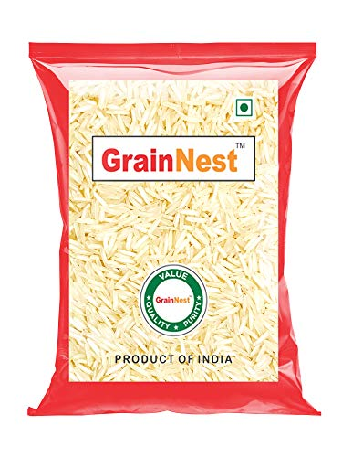 GrainNest Premium Basmati Rice / Rice with Long Grains & Rich Aroma / 1 Kg 2021 July Premium Basmati Rice - Pack of 2 (500g each) Long and fluffy grain, naturally aromatic and aged over 12 months for the perfect non-sticky texture and delicate sweet flavor Rich taste and aroma. Best for Biriyani, Pulav, Fried Rice