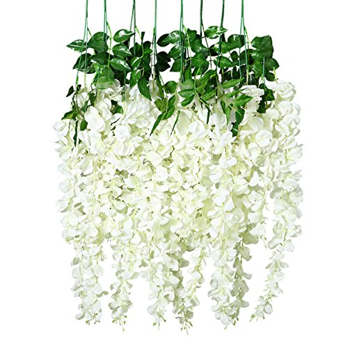 Unomor 3.25 Feet Wisteria Artificial Flowers Fake Hanging Flowers Vine Garland for Wedding Decorations (8 Pcs)