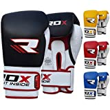 RDX Cow Hide Leather Gel Boxing Gloves Sparring Punching Glove Bag Mitts Training Muay Thai T1