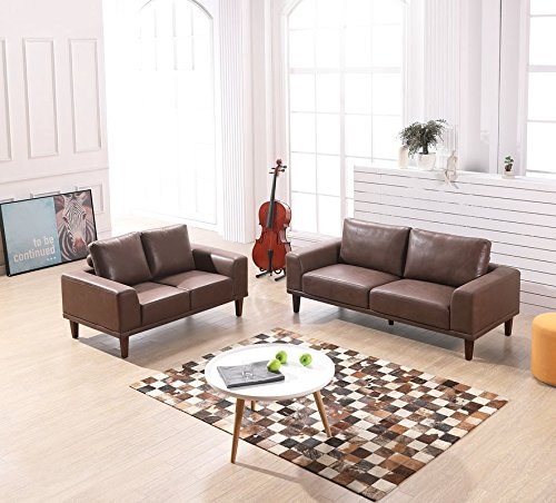 Container Furniture Direct Church Living Room Furniture Set, S5344 2PC,  Brown/Tan