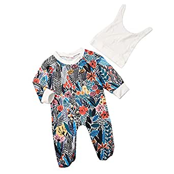 Camidy Infant Baby Long Sleeve Sleepwear Nightgown Onesie Romper Footed Jumpsuit + Hat Blue Red