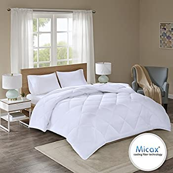 Comfort Spaces Plush Cooling Fiber Filled Down Alernative Comforter-Duvet Insert Cal-King, Box Stitches-Moisture Wicking, Temperature Regulating, Hypoallergenic-All Season, White-Micax