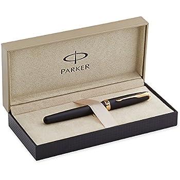 Parker Sonnet Matte Black Lacquer with Golden Trim, Fountain Pen, Fine nib with Black ink (S0817930)
