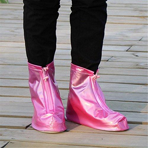 PVC Dauerhaft Reise Outdoor Wasserdicht Flatties Regen Überschuhe Rosa Größe L