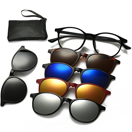 Magnetic Sunglasses Clip On Glasses Unisex Polarized Lenses TR90 Frame with 5 Lenses (2245, - Sunglasses Bean Ray