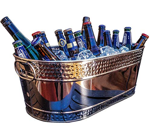 BREKX Colt Hammered Stainless Steel Silver Party Beverage Tub & Wine Bucket- 17 Quarts