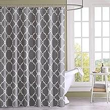 Amagical Fabric Waterproof Shower Curtain Liner Contemporary Moroccan Lattice Geometric (Gray)