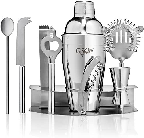 GSCW Bar Set with Ice Bucket – 10 Piece Stainless Steel Bartender Mixology Kit with Cocktail Shaker, Jigger, Strainer, Corkscrew, Bottle Opener, Tongs, Stirrer, Cheese Knife and Stand