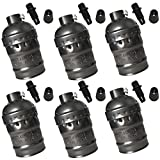 ANYQOO E26 E27 Light Socket Metal Shell Retro Lamp Holder 6 Pack (Black)