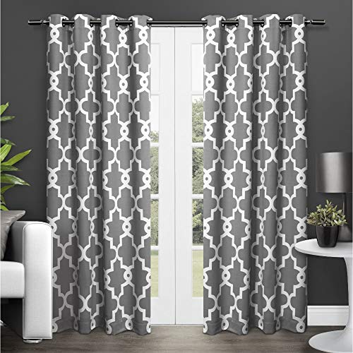Exclusive Home Curtains Ironwork Sateen Woven Blackout Window Curtain Panel Pair with Grommet Top, 52x84, Black Pearl, 2 Piece