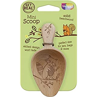 Talisman Designs Woodland Mini Scoop, Beechwood, Wildlife Design-Raccoon, Laser Etched Art, 5.5-inches Long