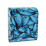 Liwwing XXL Design Wall Mounted Postbox Letter Box Stainless Steel with Newspaper Compartment, Motif and Butterflies Animals Nature Blue | No. 0192