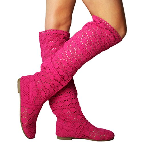 Cheyuan Elegant Breathable Gladiator Embroidery Womens Summer Boots Flat Shoes Slip-On Shoes Fashion Mesh High Knee Boots Rose LPq2ydY5U