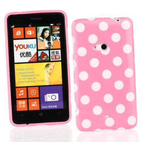 Kit Me Out US TPU Gel Case for Nokia Lumia 625 - Pink / White Polka Dots